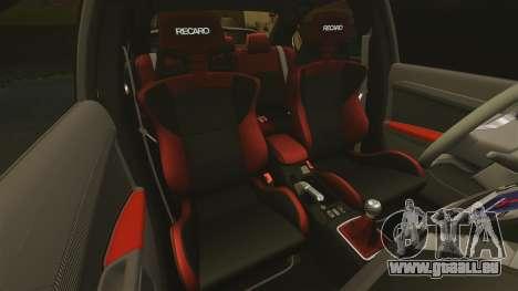 Mitsubishi Lancer Evolution X FQ400 pour GTA 4 est une vue de dessous