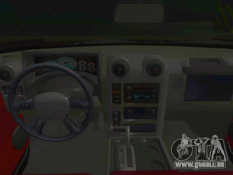 Hummer H2 Limousine pour GTA San Andreas vue intérieure
