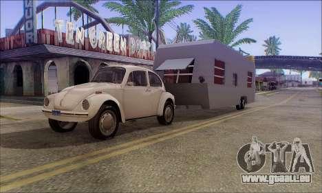 Der Wohnwagen Anhänger für GTA San Andreas zurück linke Ansicht