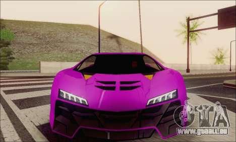 Zentorno GTA 5 V.1 für GTA San Andreas Unteransicht