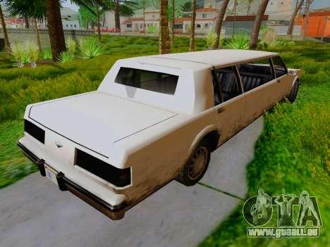 Greenwood Limousine pour GTA San Andreas sur la vue arrière gauche
