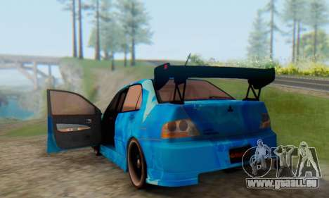Mitsubishi Lancer Evolution IIIX Blue Star für GTA San Andreas Seitenansicht
