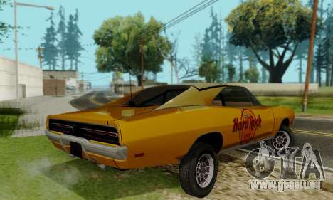 Dodge Charger 1969 Hard Rock Cafe für GTA San Andreas Rückansicht