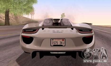 Porsche 918 2013 für GTA San Andreas Innenansicht