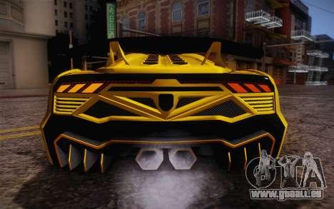 Zentorno из GTA 5 pour GTA San Andreas vue de dessus