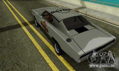 Dodge Charger 1969 Hard Rock Cafe pour GTA San Andreas sur la vue arrière gauche