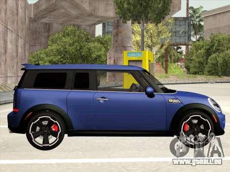 Mini Cooper Clubman JCW pour GTA San Andreas sur la vue arrière gauche