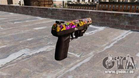 Pistole FN Five seveN LAM Graffiti für GTA 4 Sekunden Bildschirm
