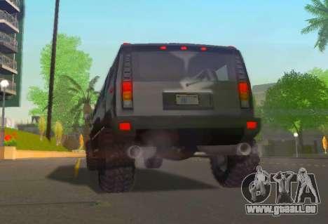 Hummer H2 Limousine pour GTA San Andreas vue arrière