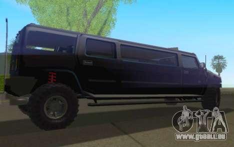 Hummer H2 Limousine pour GTA San Andreas laissé vue