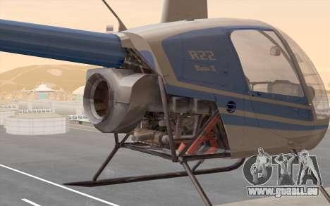 Robinson R22 für GTA San Andreas zurück linke Ansicht