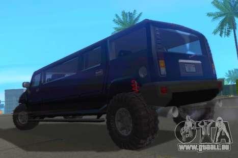 Hummer H2 Limousine pour GTA San Andreas sur la vue arrière gauche