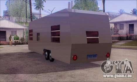 Der Wohnwagen Anhänger für GTA San Andreas linke Ansicht