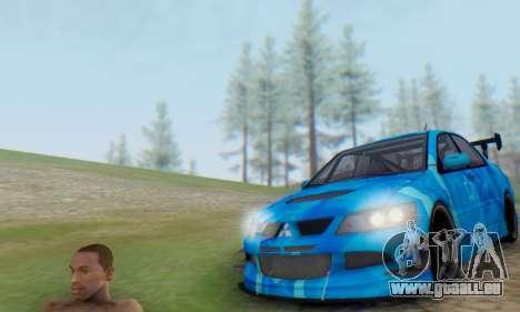 Mitsubishi Lancer Evolution IIIX Blue Star für GTA San Andreas zurück linke Ansicht