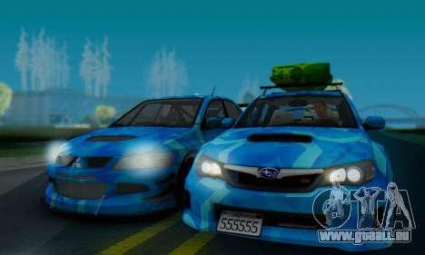 Subaru Impreza Blue Star pour GTA San Andreas sur la vue arrière gauche