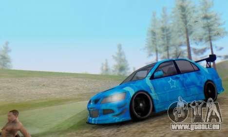 Mitsubishi Lancer Evolution IIIX Blue Star pour GTA San Andreas laissé vue