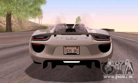 Porsche 918 2013 für GTA San Andreas obere Ansicht