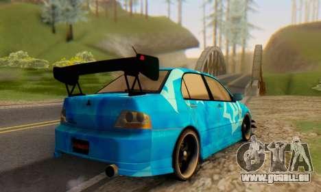 Mitsubishi Lancer Evolution IIIX Blue Star pour GTA San Andreas vue arrière