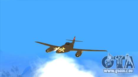 Messerschmitt Me.262 Schwalbe pour GTA San Andreas vue de dessus