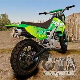 GTA V Maibatsu Sanchez wheels v2 pour GTA 4 Vue arrière de la gauche