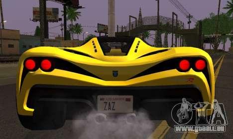 Grotti Turismo R V.1 pour GTA San Andreas sur la vue arrière gauche