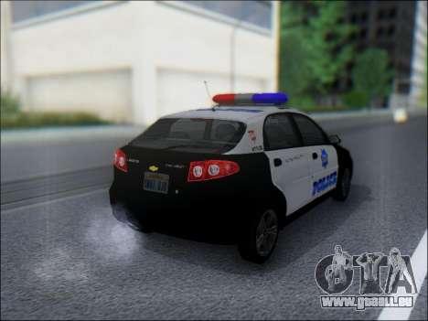 Chevrolet Lacetti Police für GTA San Andreas rechten Ansicht