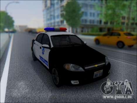 Chevrolet Lacetti Police für GTA San Andreas Rückansicht