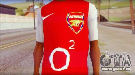 Arsenal Shirt pour GTA San Andreas troisième écran