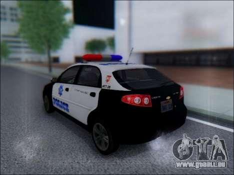Chevrolet Lacetti Police pour GTA San Andreas sur la vue arrière gauche