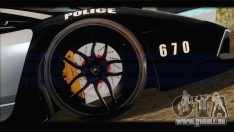 Lamborghini Murcielago LP670 SV Police für GTA San Andreas Innenansicht