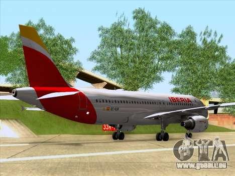 Airbus A320-214 Iberia für GTA San Andreas zurück linke Ansicht