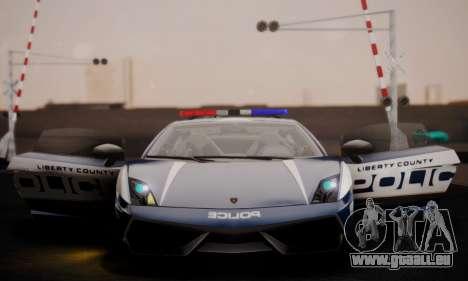 Lamborghini Gallardo LP 570-4 2011 Police v2 für GTA San Andreas obere Ansicht