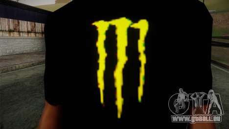 Monster Energy Shirt Black pour GTA San Andreas troisième écran