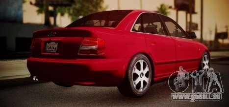 Audi S4 Stock 2000 pour GTA San Andreas sur la vue arrière gauche