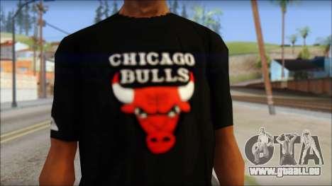 Chicago Bulls Black T-Shirt pour GTA San Andreas troisième écran