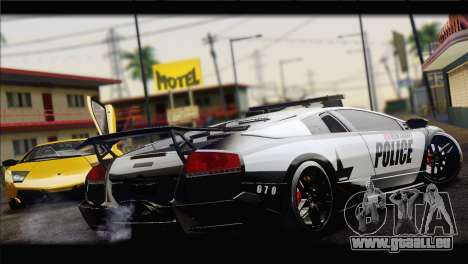 Lamborghini Murcielago LP670 SV Police für GTA San Andreas zurück linke Ansicht