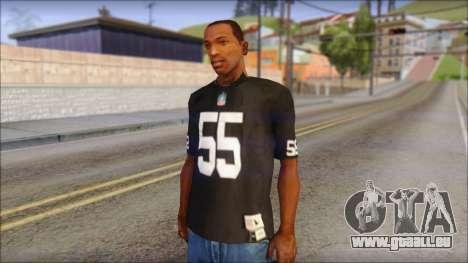 Oakland Raiders 55 McClain Black T-Shirt für GTA San Andreas