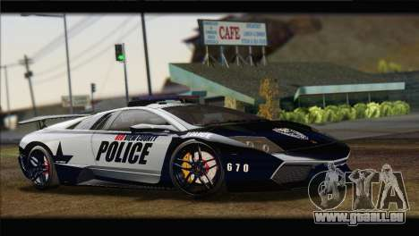 Lamborghini Murcielago LP670 SV Police für GTA San Andreas rechten Ansicht