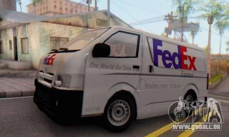 Toyota Hiace FedEx Cargo Van 2006 für GTA San Andreas zurück linke Ansicht