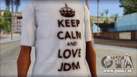JDM Keep Calm T-Shirt pour GTA San Andreas troisième écran