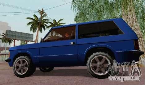 Huntley Coupe pour GTA San Andreas sur la vue arrière gauche