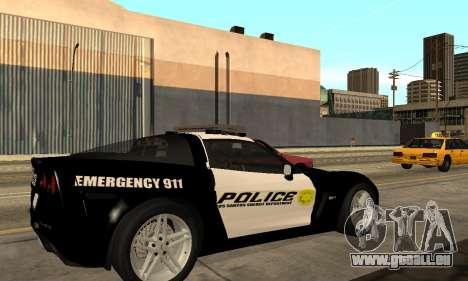 Chevrolet Corvette Z06 Los Santos Sheriff Dept pour GTA San Andreas laissé vue