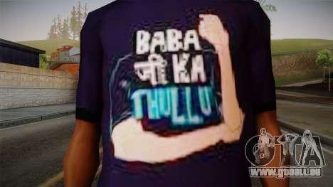 Babaji ka thullu T-Shirt pour GTA San Andreas troisième écran