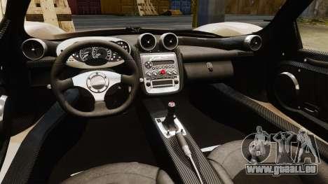 Pagani Zonda C12S Roadster 2001 v1.1 PJ3 pour GTA 4 est une vue de l'intérieur