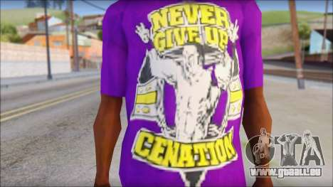 John Cena Purple T-Shirt pour GTA San Andreas troisième écran
