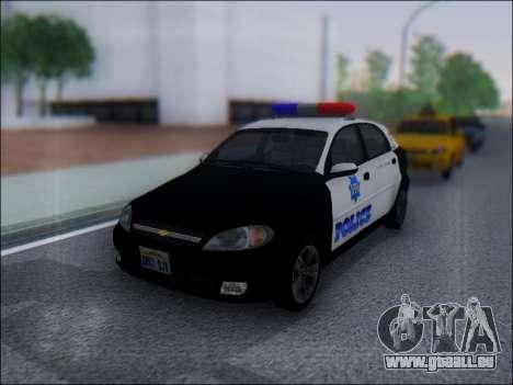 Chevrolet Lacetti Police pour GTA San Andreas laissé vue