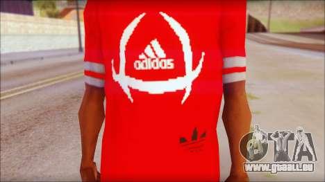 T-Shirt Adidas Red pour GTA San Andreas troisième écran