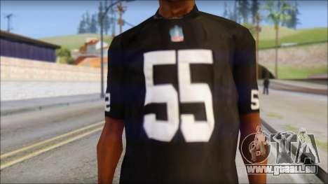 Oakland Raiders 55 McClain Black T-Shirt für GTA San Andreas dritten Screenshot