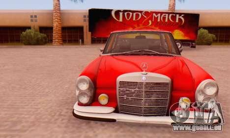 Mercedes-Benz 300SEL Stock 1972 pour GTA San Andreas vue arrière
