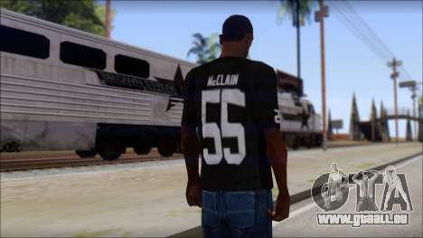 Oakland Raiders 55 McClain Black T-Shirt für GTA San Andreas zweiten Screenshot